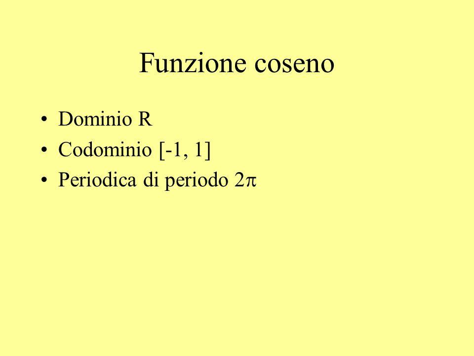 Funzione coseno Dominio R Codominio [-1, 1] Periodica di periodo 2p